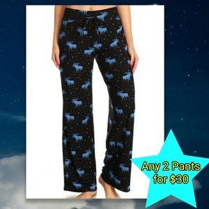 Black Pajama Pants Moose Winter Holiday NEW NWT